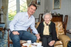 Hunt visits his 99-year-old great aunt Betty during his visit to Peterhead, Aberdeenshire.