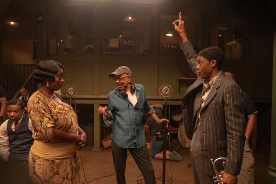 Viola Davis, George C Wolfe and Chadwick Boseman