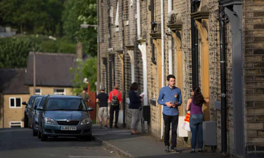 Labour party activists campaigning in Halifax in West Yorkshire.