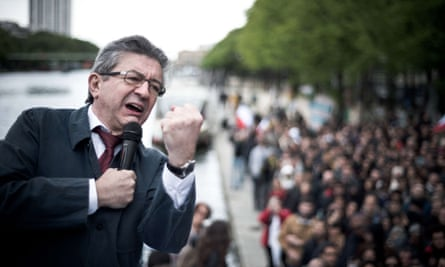 Jean-Luc Mélenchon campaigning in Paris.