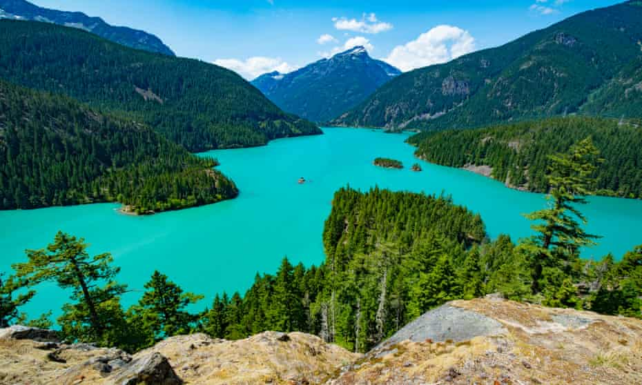 Rising waters: the dramatic Lake Diablo reservoir in the North Cascades, Washington State. The area is nicknamed 'America's Alps'.