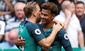 Tottenham's Dele Alli celebrates his goal at St James' Park with Harry Kane.