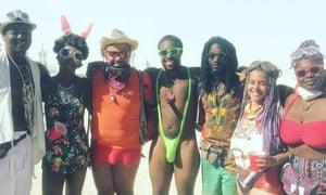 Dune, shake the room: Steven Thrasher (third from left) and friends in the desert at Burning Man