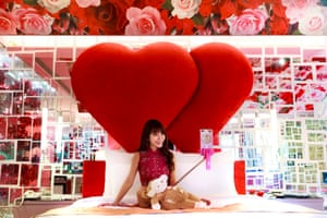 Lala, a famous independent livestreamer, films herself on a smartphone in the room of a love hotel in Kaohsiung, Taiwan