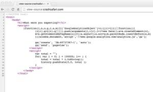Crash Safari website code
