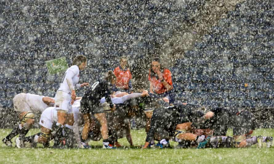 Scotland's Mairi McDonald prepares to put the ball into a scrum in what were abominable conditions at Murrayfield on Monday.