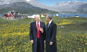 Is Greenland really the background, or Barack Obama very much at the fore?