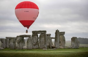 Wiltshire, England A tethered hot-air balloon flies over Stonehenge to mark the 30th anniversary of the monument becoming a world heritage site. English Heritage has launched a competition offering the chance of a balloon ride over Stonehenge