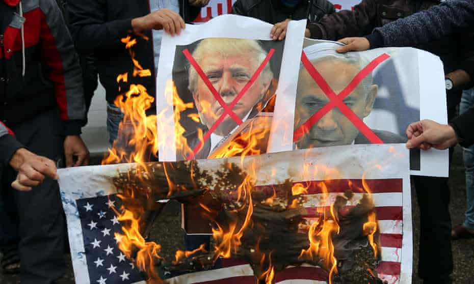 Palestinians in Rafah protest on 6 December against US plans to move its embassy in Israel to Jerusalem.