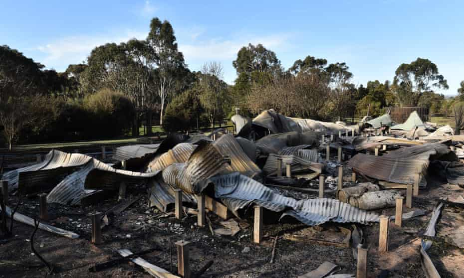 The ruins of a house near Lancefield, north of Melbourne, on Wednesday.