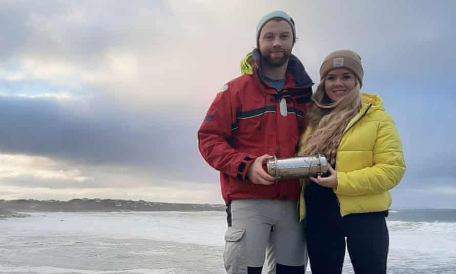 Conor McClory and Sophie Curran found the metallic tube along Bloody Foreland in Gweedore, County Donegal on Sunday.