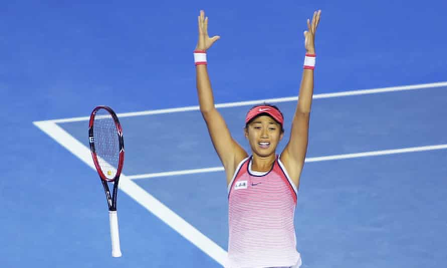 The Chinese qualifier Zhang Shuai celebrates her win against Madison Keys in the fourth round, her seventh match so far at the Australian Open.