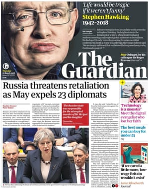 Guardian front page, Thursday 15 March 2018