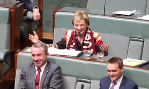 The member for Ryan Jane Prentice is sat down and ruled out of order for her timing by Blues follower Bronwyn Bishop. Kevin Hogan and Wyatt Roy are in front.