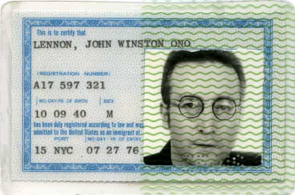 John Lennon's green card issued by the U.S.Immigration Office in 1976.