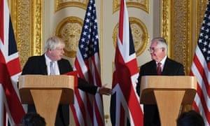 Boris Johnson, the foreign secretary (left) and and US Secretary of State Rex Tillerson at their press conference.