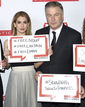 The actor Alec Baldwin and his wife Hilaria Baldwin are among high-profile supporters of the campaign to free Hathloul and other detained Saudi women's rights activists.