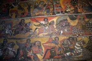 Battle scenes are depicted on the wall of the Debre Birhan Selassie church