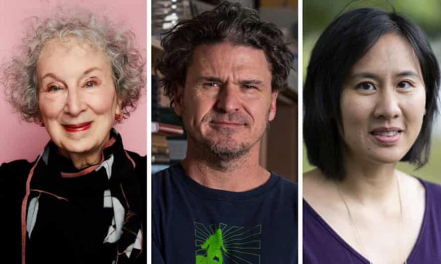 (from left) Margaret Atwood, Dave Eggers and Celeste Ng.