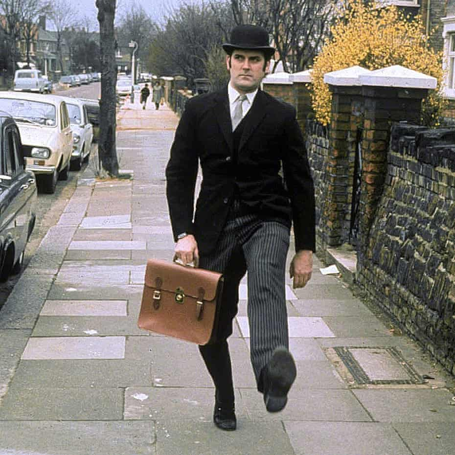 John Cleese's Ministry of Silly Walks sketch on Monty Python's Flying Circus (1969).