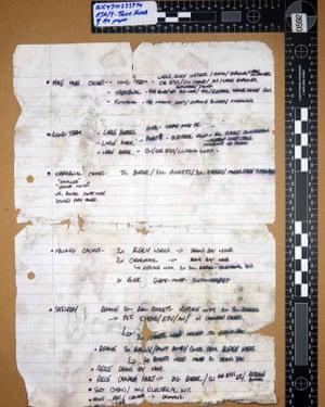 A handwritten note by Maxwell, discovered in an underground hide in Powderham New Plantation in Devon.