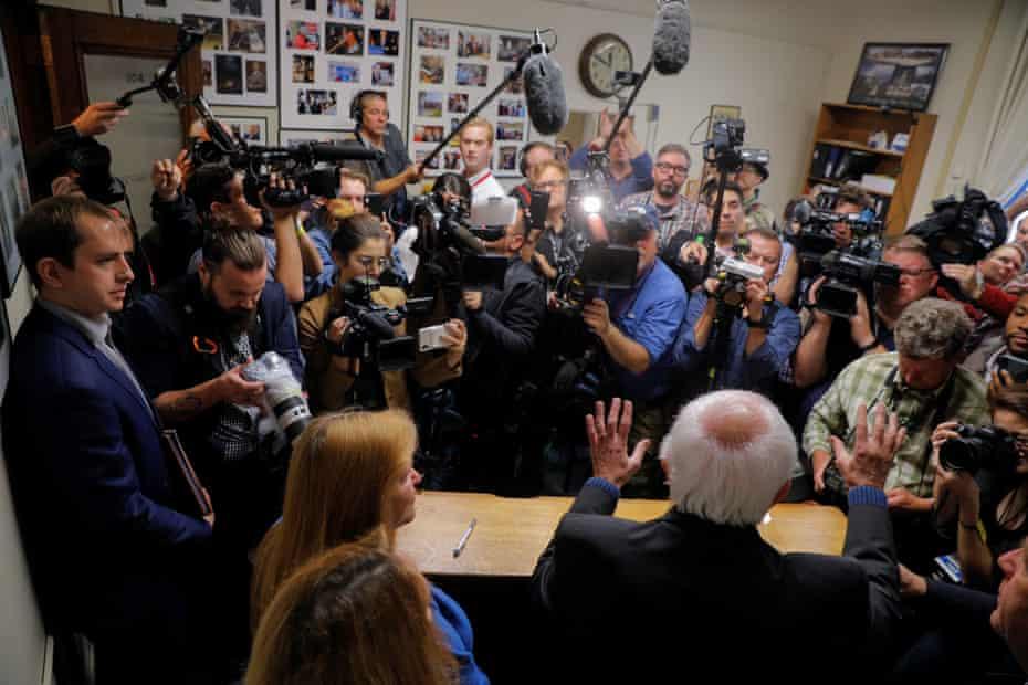 Bernie Sanders speaks to reporters in Concord, New Hampshire.