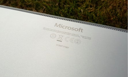 The Microsoft logo stamped on the back.
