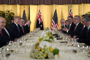 Donald Trump,Scott MorrisonPresident Donald Trump, second from left, attends dinner with Australian Prime Minister Scott Morrison, third from right, in Osaka, Japan, Thursday, June 27, 2019. Trump and Morrison are in Osaka to attend the G20 summit. (AP Photo/Susan Walsh)