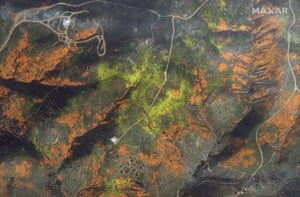 A satellite image shows the colourful hills of Walker Canyon in Lake Elsinore