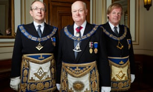 Jonathan Spence, Peter Lowndes and Sir David Wootton in Inside the Freemasons, on Sky 1.