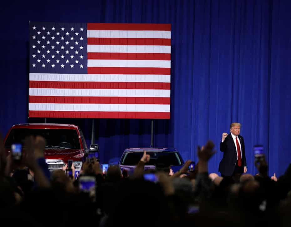 Donald Trump acknowledges auto workers at the American Center for Mobility on March 2017 in Ypsilanti, Michigan.