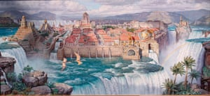 'Most peculiar': Waterfall City: Afternoon Light (2001), one of James Gurneys's 'vivid' Dinotopia paintings