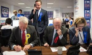 Cameron, standing, with Ashdown, Kinnock and Amber Rudd