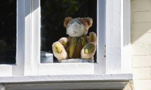 teddy bear with mask in window
