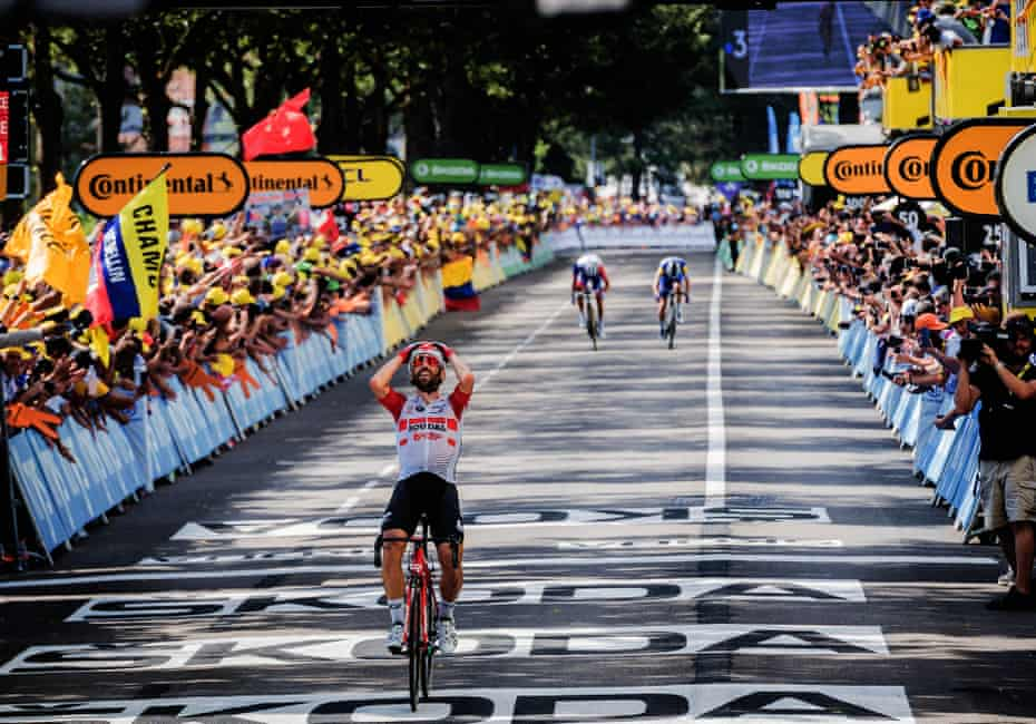 Thomas DeGendt crosses the line to win Stage 8 between Macon and Saint-Etienne.