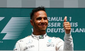 Lewis Hamilton looks satisfied with his day's work.