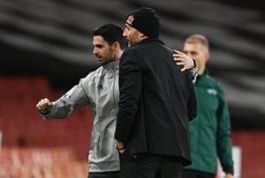 Arteta with Dundalk coach Filippo Giovagnoli after the match