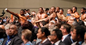 Fijians perform a traditional ceremony during the opening of the talks. The conference is under the presidency of the government of Fiji this year.