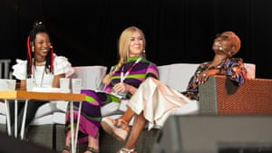 Jane Cornwell (middle) hosts Fatoumata Diawara (left) and Angélique Kidjo for an Artist in Conversation session.