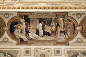 The Cart of Thespis. Ceiling painting by Gustav Klimt from 1886-87 in the Burgtheater in Vienna, Austria. According to ancient Greek sources including Aristotle, Thespis is thought to have been the first ever person to appear on stage as an actor in the guise of a character. He is also credited with pioneering the concept of the touring theatre, as he travelled with his cart of props, costumes and masks. The term 'thespian' is inspired by him
