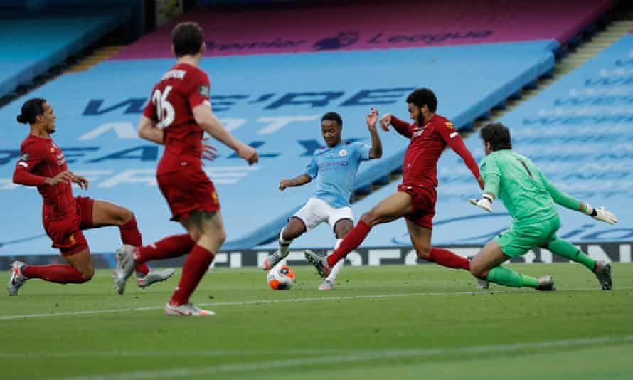 Raheem Sterling turns inside Joe Gomez to double Manchester City's lead.