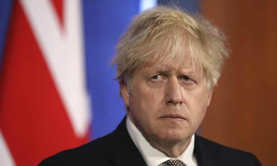 Boris Johnson during a virtual press conference at Downing Street