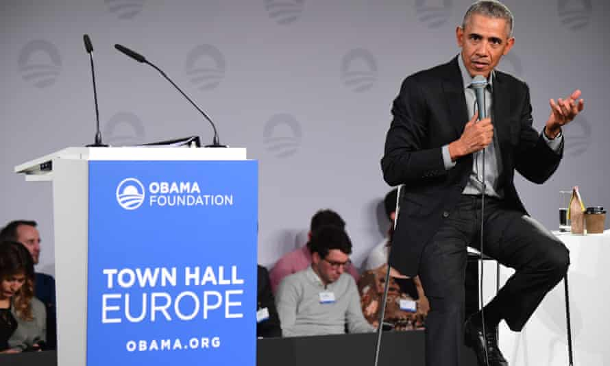 Former president Barack Obama during a town hall meeting at the European School of Management and Technology (ESMT) in Berlin, on 6 April.
