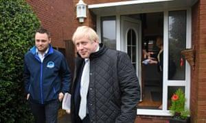 Boris Johnson door-knocking in Mansfield, Nottinghamshire on 16 November.