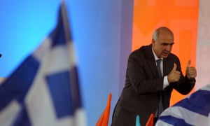 New Democracy leader Evangelos Meimarakis delivers a speech during a pre-election rally at Omonia Square in Athens.