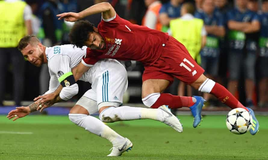 Sergio Ramos's challenge on Mohamed Salah resulted in the Egyptian's premature exit from the Champions League final.