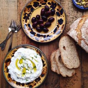 Tsatziki and black olives