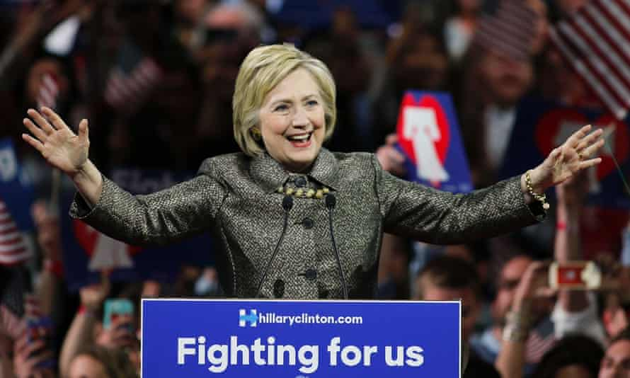 Hillary Clinton in Philadelphia after winning the Pennsilvania state primary.