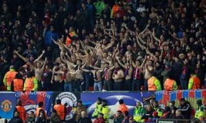 CSKA Moscow fans enjoy themselves in Manchester.