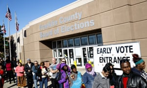 A line of early voters waits outside the Franklin County Board of Elections on 7 November 2016, in Columbus, Ohio.